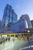 Building in city. Building city, cityscape as background, sky walk to sky train Stock Image