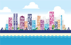 Building and City Illustration. Building and Cityscape background for your design Stock Images