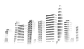 Building and city illustration. Illustration isolated on white background. Graphic concept for your design. Royalty Free Stock Photos