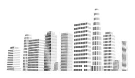 Building and city illustration. Illustration  on white background. Graphic concept for your design. Stock Photo