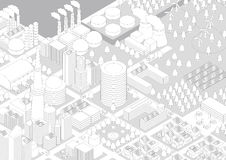 Building and City Landscape(factories and power plants), line drawing illustration Royalty Free Stock Photography