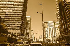 Building in the city and traffic jam on Sathorn road Royalty Free Stock Photos