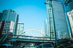 Building in the city and traffic jam on Sathorn road Stock Photos