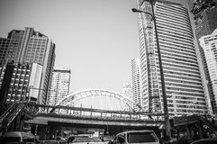 Building in the city and traffic jam on Sathorn road Stock Photo