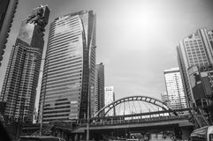 Building in the city and traffic jam on Sathorn road. Bangkok Thailand Royalty Free Stock Photo