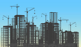 Building city under construction website process with tower cranes silhouette. Constructions infographics template Royalty Free Stock Images