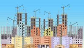 Building city under construction website with tower cranes.  Stock Photos