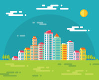 Building in city - vector concept illustration in flat design style for presentation, booklet, web site and different design proje Stock Photos