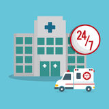Building clinic ambulance emergency 24-7 Royalty Free Stock Image