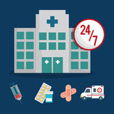 Building clinic service healthcare 24-7 Royalty Free Stock Photos