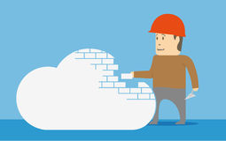 Building a cloud. Concept image. Worker build a cloud. Concept image Stock Photo