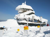 Building colapsied under heavy layers of snow royalty free stock images
