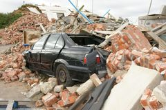 Building collapse. Disaster zone, building collapse, earthquake Stock Image