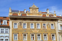 Building with colorful murals on the facade Royalty Free Stock Images