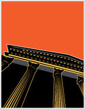 Building Columns. Building facade with columns, black and orange background, vector illustration Stock Image