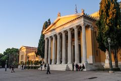 Building with columns in Athens. Greece royalty free stock photography