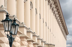 Building with columns. A facade fragment. Royalty Free Stock Images