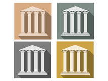 Building with columns. Set of icons in a flat style. Column. Doric, Roman style. Stock Images