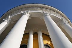 Building with columns, view from below Royalty Free Stock Photo