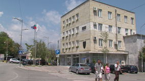 The building of the Community in Petrich, Bulgaria. Petrich - a small town in seismic zone of Bulgaria, near the border with Greece. Petrich is famous for the stock footage
