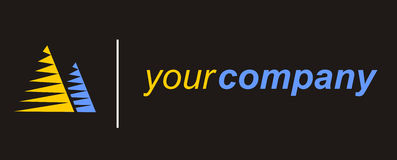 Building company logo. Company logo, blue, yellow, concept logo Royalty Free Stock Photos