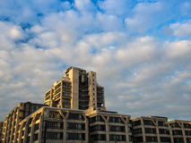 Building complex at sunrise in Frankfurt, Germany Stock Photo