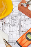 Building Components Arranged On House Plans Stock Photography