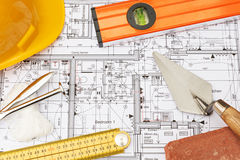 Building Components Arranged On House Plans Royalty Free Stock Images