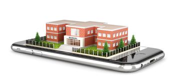 Building of a comprehensive school. The exterior of the school building is located on the mobile phone. 3d illustration Royalty Free Stock Photography