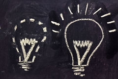 Building a concept, funny lightbulb on blackboard Royalty Free Stock Images