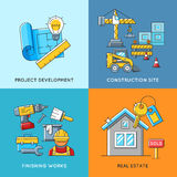 Building concepts. Engineering construction, finishing works and real estate housing Stock Photo
