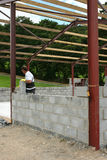 Building a Concrete Block Wall Royalty Free Stock Photo