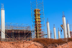 Building Concrete Columns Materials. New building site for shopping mall with concrete columns and steel materials in Waterfall district suburb outside Durban Royalty Free Stock Image