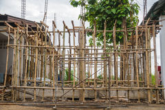 Building construct site. Building construct area cement pillar and wood in construct site Stock Image