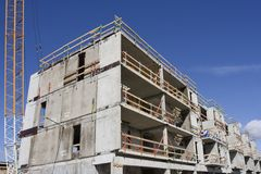 Building construction. Construction of a apartment building Royalty Free Stock Photos