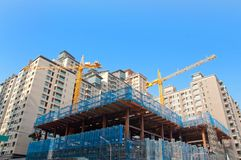 Building construction. The modern building is under construction stock image
