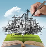 Building and construction. Open book of hand draws building and construction Stock Photography