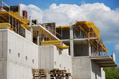 Building construction. Concrete walls and building accessories stock photo