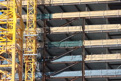 Building construction. Exterior of a multilevel building under construction stock image