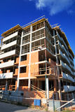 Building construction. Unfinished residential building construction - brick and concrete walls stock images