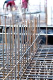 Building construction. Concrete steel reinforcement.Detail of iron bars for building construction royalty free stock image