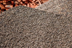 Building construction on the accumulation of sand and gravel Royalty Free Stock Images