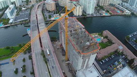 Building construction aerial video stock footage