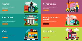 Building and Construction Banner Design. Set of great flat icons design illustration concepts for building, construction, public place, banner and much more. The Stock Image