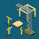 Building Construction Beginning Isometric Banner Stock Photo