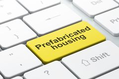 Building construction concept: Prefabricated Housing on computer keyboard background Stock Photo