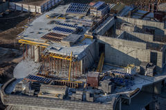 Building construction. With constructional debris and equipment Stock Photography