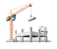 Building construction with crane. In the city on white background Royalty Free Stock Photo
