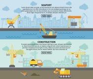 Building construction crane flat banners set Stock Images