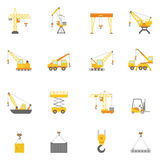 Building construction crane flat icons set Stock Photos